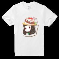 可爱甜美蛋糕女孩手绘高档白色T恤