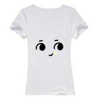 摸摸头母版-女款纯棉白色T恤