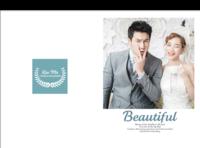 beautiful你和我 美丽记忆在一起 我和你在一起是美丽时光最新韩式怀旧风格婚纱相册大容量模板(图可换)-硬壳精装照片书30p