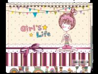 可爱插画-甜美女生(2018幸福每一天)-8寸双面印刷台历