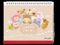 十二生肖-快乐每一天(适用亲子、全家福、好友、闺蜜、企业定制)--10寸单面印刷台历