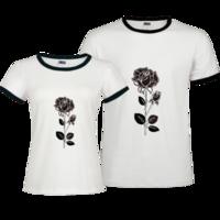 精美手绘玫瑰花-撞色情侣装纯棉T恤