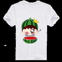 可爱吃瓜群众-男款男款纯棉白色T恤