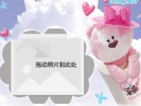 粉红小熊-8寸木版画横款