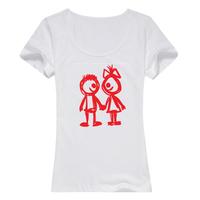 在一起母版-女款纯棉白色T恤