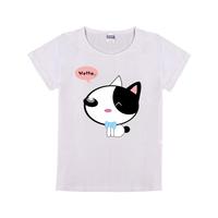 卡通可爱猫咪萌萌哒母版-童装纯棉白色T恤