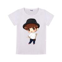 卡通han童装纯棉白色T恤