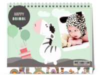 可爱动物快乐成长  亲子快乐时光 宝贝成长-8寸双面印刷台历
