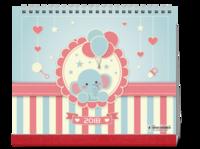 卡通小象2018-10寸双面印刷台历