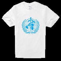 世界卫生组织蓝色蛇徽标志高档白色T恤