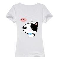 卡通可爱猫咪萌萌哒母版-女款精梳棉圆领T恤