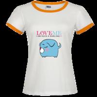 爱我系列小猪卡通时尚撞色纯棉T恤女款