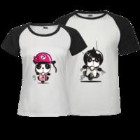 可爱熊小猫-时尚插肩情侣装T恤
