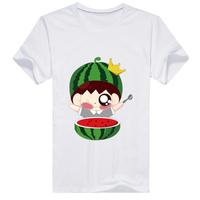 可爱吃瓜群众-男款母版-男款精梳棉圆领T恤