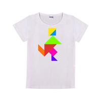 七巧板奔跑童装纯棉白色T恤