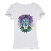 狮子--缤纷一夏母版-女款精梳棉圆领T恤