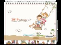 欢乐童年-日系卡通插画-8寸单面印刷台历