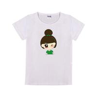 绿衣娃娃童装纯棉白色T恤