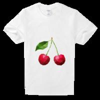色彩风樱桃高档白色T恤