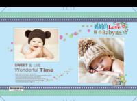 期待宝贝快乐成长 儿童 幼儿 萌宝 可爱 清新(字图可替换)-硬壳对裱照片书20P