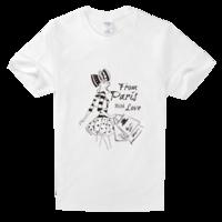 巴黎街头时尚手绘女郎高档白色T恤