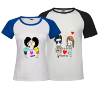 情侣版-时尚插肩情侣装T恤