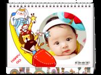 卡通小动物新年快乐HAPPY GO(亲子、宝宝、喜庆、新年、动漫、可爱萌)-8寸双面印刷台历