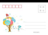 儿童可爱潮流插画系列彩色童年的美好记忆4-长方留白明信片(横款)套装