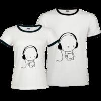 情侣装 音乐小人-撞色情侣装纯棉T恤