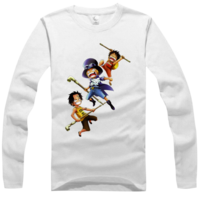 海贼王 徽章/海贼王三兄弟高档白色纯棉长袖T恤