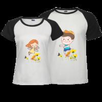 两只蝴蝶-时尚插肩情侣装T恤