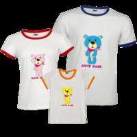 时尚清新卡通熊宝宝 小熊-时尚撞色亲子装T恤