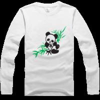 可爱 卡通 纯棉/国宝熊猫吃竹叶插画高档白色纯棉长袖T恤
