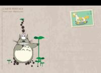 可爱龙猫、木马邮票-复古风-长方留白明信片(横款)套装