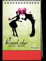 卡通可爱小情侣亲吻浪漫 婚纱旅行留念-8寸竖款单面台历