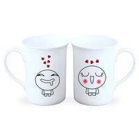 花痴-情侣骨瓷白杯