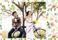 清新文艺手绘水彩甜美爱情婚礼温情-彩边拍立得横款(18张P)