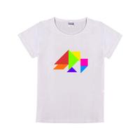 七巧板小鸟童装纯棉白色T恤