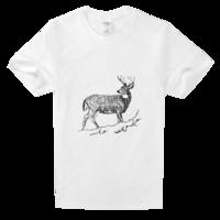 手绘线稿鹿高档白色T恤