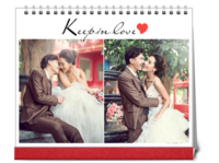 最新韩式怀旧风格婚纱相册模板 爱在心里932308(图可换)-10寸双面印刷台历