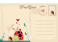 卡通小动物明信片-长方留白明信片(横款)套装