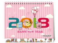 2018可爱清新学校培训机构狗年台历亲子商务-8寸单面印刷台历