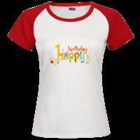 卡通生日快乐字母时尚插肩纯棉短袖T恤女款