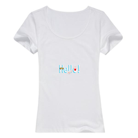 hello图案女款精梳棉圆领T恤