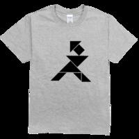 黑白七巧板劈柴的人高档彩色T恤