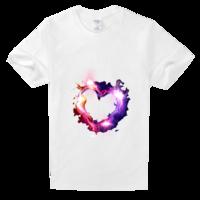 心形七彩高档白色T恤