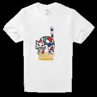 花点猫咪舒适白色T恤