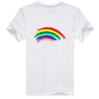 彩虹男款纯棉白色T恤