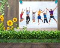 青青世界,快乐心情-10寸木版画横款