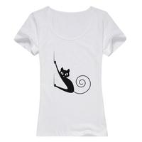 喵喵--缤纷一夏母版-女款精梳棉圆领T恤